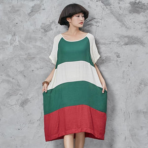 Chic o neck Cotton quilting dresses Shape patchwork short sleeve Dress loose waist summer