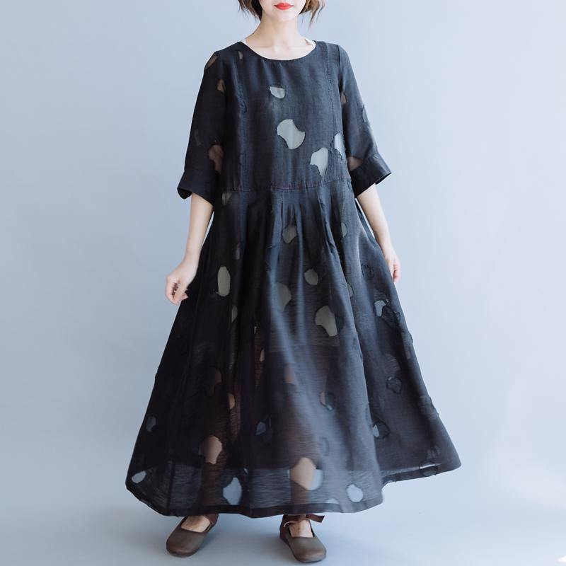 Chic o neck half sleeve linen dresses Online Shopping black Dresses summer