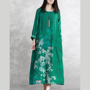 Chic o neck linen clothes Fine pattern green prints long Dress spring
