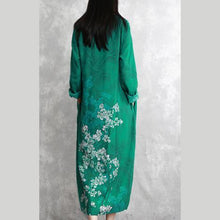 Laden Sie das Bild in den Galerie-Viewer, Chic o neck linen clothes Fine pattern green prints long Dress spring