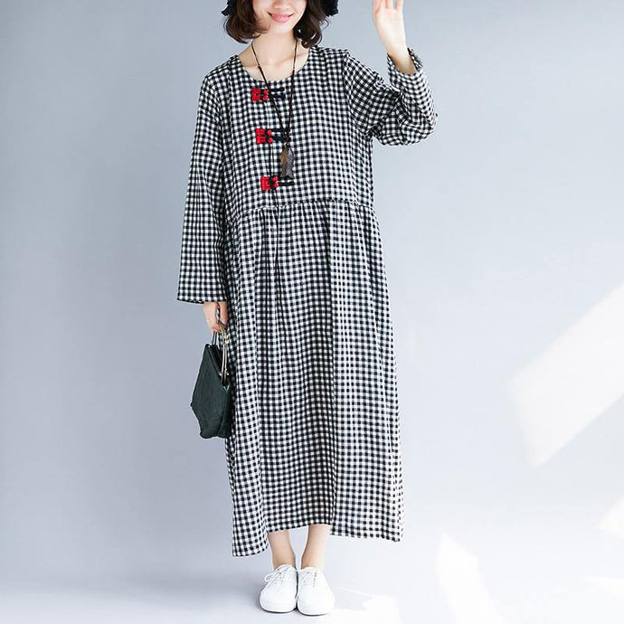 Chic o neck patchwork linen dresses Omychic pattern black Plaid robes Dress spring