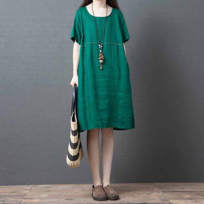 Chic o neck pockets linen Robes Tunic Tops green Dress summer