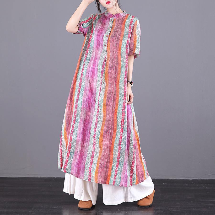 Chic o neck pockets linen clothes For Women Fashion Ideas multicolor striped Dresses summer