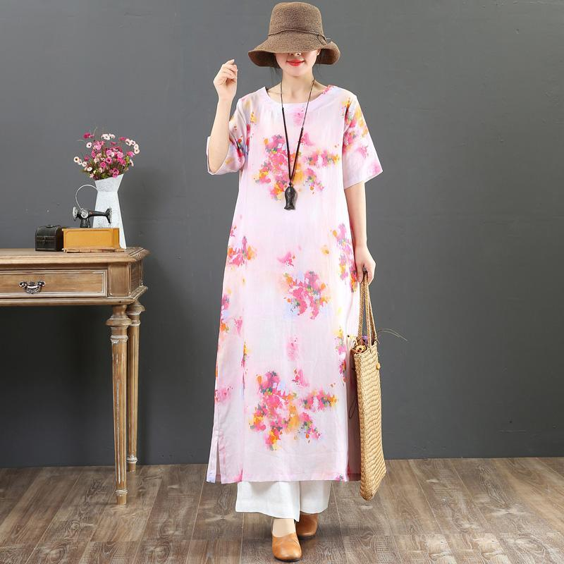 Chic o neck pockets linen clothes For Women Wardrobes pink print Maxi Dresses Summer