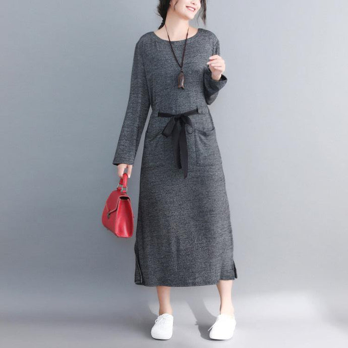 Chic o neck tie waist cotton clothes Fine Fashion Ideas gray Plus Size Dresses spring