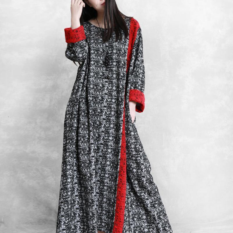 Chic patchwork cotton outfit Runway black prints cotton robes Dress fall