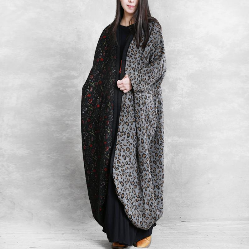 Chic patchwork wool clothes For Women pattern gray Maxi Dress fall