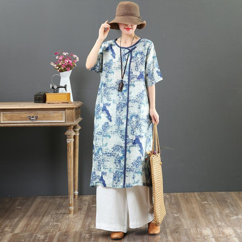 Chic pockets linen clothes For Women Omychic Ideas light blue print A Line Dress Summer