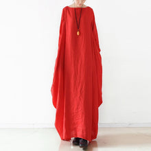Load image into Gallery viewer, Chic red linen clothes Omychic Runway o neck asymmetric cotton robes Dresses
