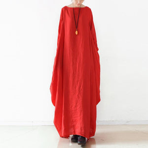 Chic red linen clothes Omychic Runway o neck asymmetric cotton robes Dresses