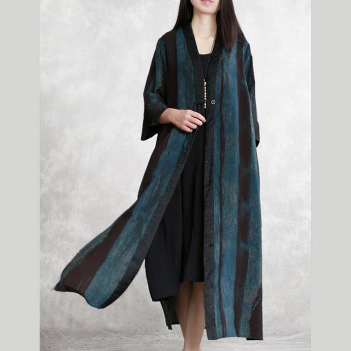 Chic side open linen coat Women Tunic Tops blue Traveling cardigan spring