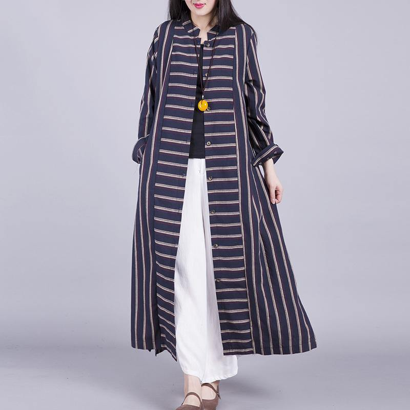 Chic stand collar linen shirt outwear linen black striped coat autumn