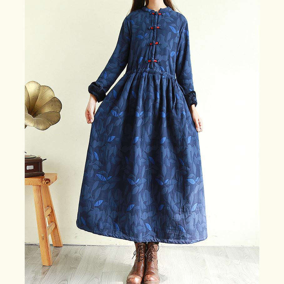 Chic tie waist linen winter Wardrobes Tutorials navy prints Dress