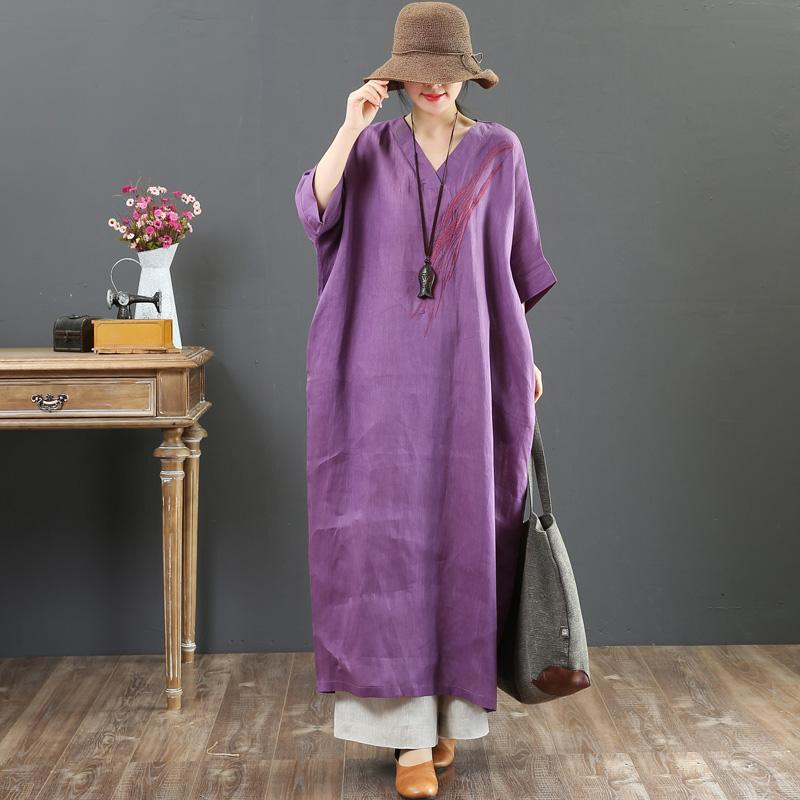 Chic v neck batwing sleeve linen Wardrobes Indian Neckline purple loose Dress Summer