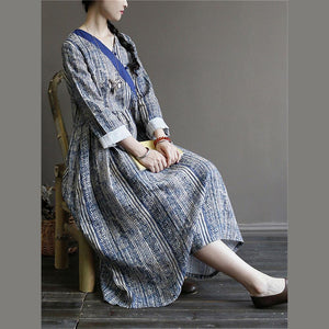 Chic v neck linen spring dresses Wardrobes blue prints Dresses