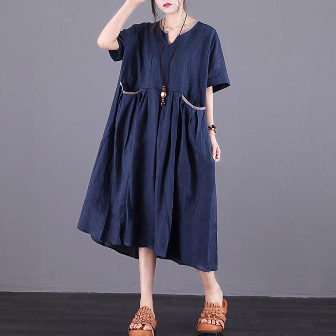 Chic v neck pockets linen clothes Fashion Ideas navy Dress summer