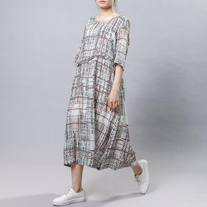 Chinese Calligraphy Splicing Casual Loose Dress