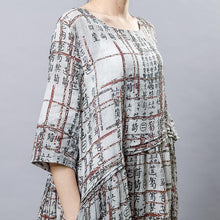 Load image into Gallery viewer, Chinese Calligraphy Splicing Casual Loose Dress