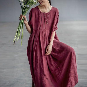 Chinese Style Elegant Pleated Linen Dress