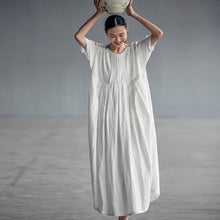 Load image into Gallery viewer, Chinese Style Elegant Pleated Linen Dress