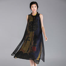Load image into Gallery viewer, Chinese Style Flower Printed Sleeveless Dress