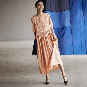 Chinese Style Pure Color Pleated Plus Size Dress