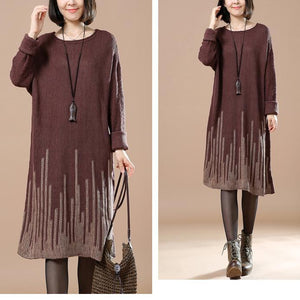Chocolate falling stars women knit sweaters knit dress plus