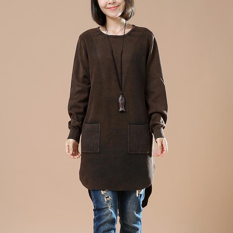 Chocolate oversized sweater shirt pockets casaul style