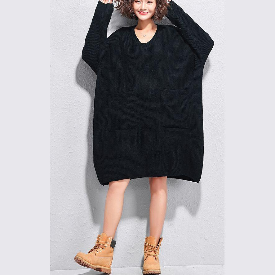 Christmas big pockets Sweater dresses DIY black v neck Art knitwear autumn