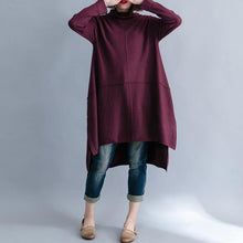 Load image into Gallery viewer, Christmas high neck Sweater dress outfit Beautiful burgundy Big knit top side open