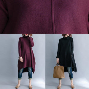 Christmas high neck Sweater dress outfit Beautiful burgundy Big knit top side open