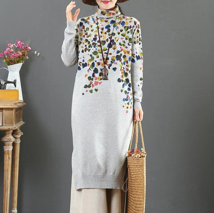 Christmas high neck Sweater winter knit top pattern Beautiful gray prints Big knit dress