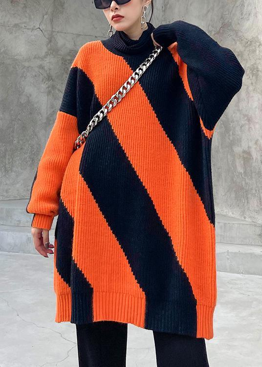 Chunky Black Orange Striped Knit Sweat Tops Plus Size O Neck Knit Tops