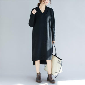 Chunky black Sweater dresses Beautiful daily v neck knitted dress