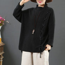 Load image into Gallery viewer, Chunky black knit blouse drawstring plus size clothing half high neck knit sweat tops