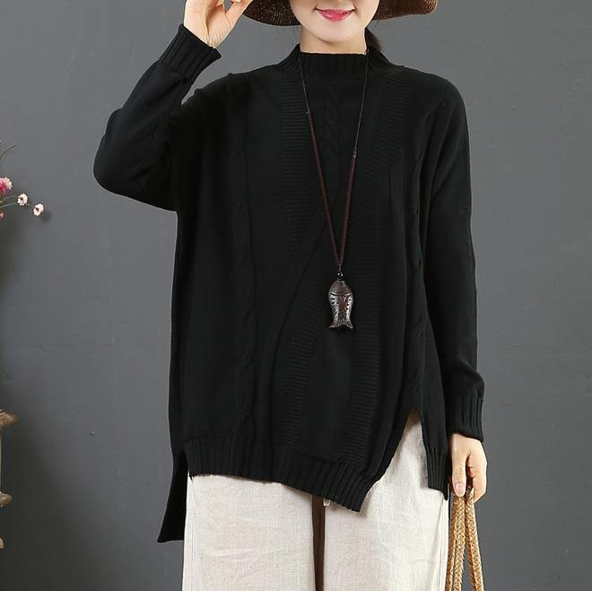 Chunky black knitted t shirt asymmetric hem plus size half high neck sweaters