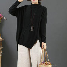 Load image into Gallery viewer, Chunky black knitted t shirt asymmetric hem plus size half high neck sweaters