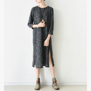 Chunky gray Sweater dress outfit Design side open Tejidos knit dress