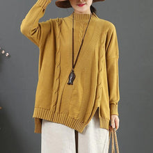 Load image into Gallery viewer, Chunky khaki crane tops side open Loose fitting half high neck sweaters