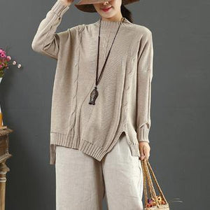 Chunky khaki crane tops side open Loose fitting half high neck sweaters