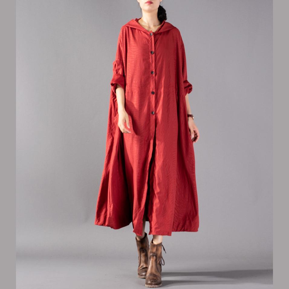 Chunky red blended cardigans oversized hooded large hem coat