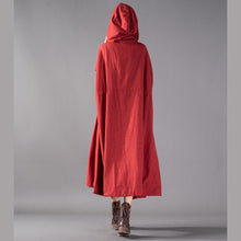 Laden Sie das Bild in den Galerie-Viewer, Chunky red blended cardigans oversized hooded large hem coat