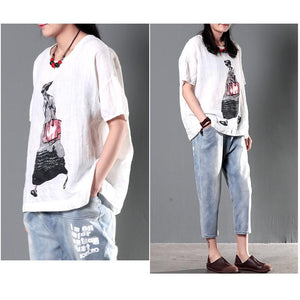 City girl white linen summer t shirt women plus size top