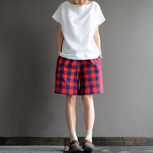 Classic cotton plaid summer short pants women loose casual cotton shorts
