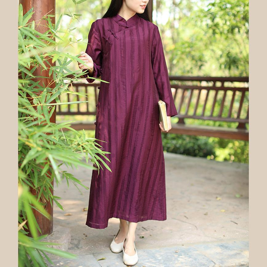 Classy Chinese Button cotton clothes Shirts purple striped Dresses fall