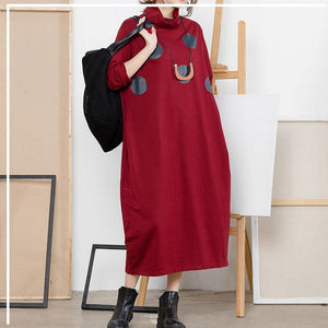 Classy Cotton clothes Korea high neck print Wardrobes red A Line Dresses