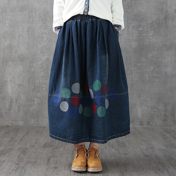 Classy Cotton skirts plus size Spring Casual Ankle Length Denim Skirt