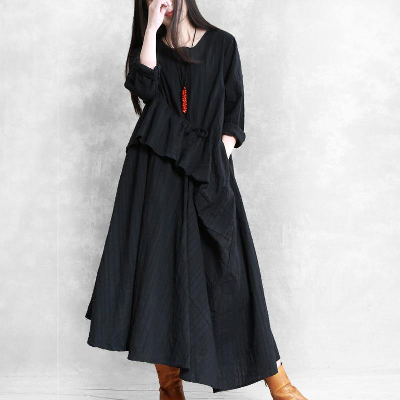 Classy Multiple wearing methods linen dresses Outfits black asymmetric Dress fall