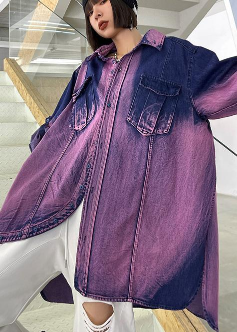 Classy Tie Dye Purple Asymmetrical Design Cotton Long Sleeve Spring Shirt