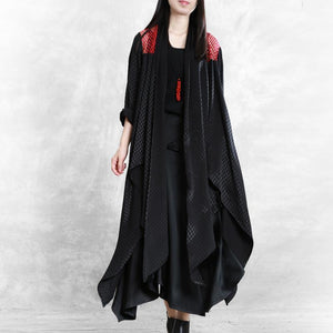 Classy asymmetric Fashion coats women black silhouette coat